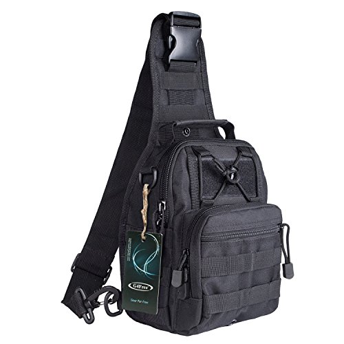 G4Free Outdoor Tactical Backpack,Military Sport Pack Shoulder Backpack for Camping, Hiking, Trekking,Rover Sling Pack Chest Pack(Black) ()