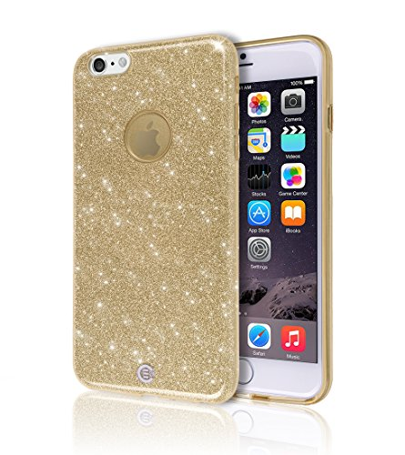 iPhone 6 6S Plus Case [Ultra Slim TPU Bumper] [3D UV Coated Print] Sheer Glam Shinny Bling Sparkle Star Colorful Jelly Back Cover Soft Shell Light Apple iPhone6 Plus iPhone6S Plus + (Gold Glitter)