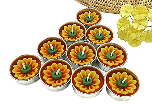 NAVA CHIANGMAI Flower Tealight Candles Scented Tea Lights Aromatherapy Relax Candles for Birthday Party Supplies and Wedding Favor Baby Shower Decorations Pack of 10 Pcs. (Sunflower) (Candle Sunflower Warmer)