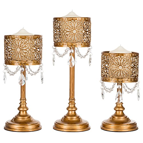 Amalfi Decor Victoria 3-Piece Antique Gold Hurricane Candle Holder Set with Crystals, Metal Pillar Wedding Accent (Gold Hurricane Lamp)