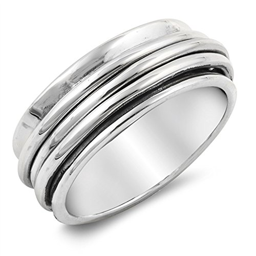 Spinner Meditation Wedding Ring New .925 Sterling Silver Triple Band Size 6