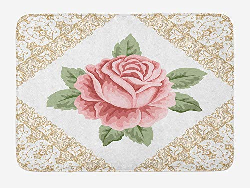 (luckyly Floral Bath Mat, Lace Ornate Vintage Rose Petal Floret Shabby Chic Pattern, Plush Bathroom Decor Mat with Non Slip Backing, 16 W X 24 L Inches, Pale Pink Reseda Green Sand Brown)