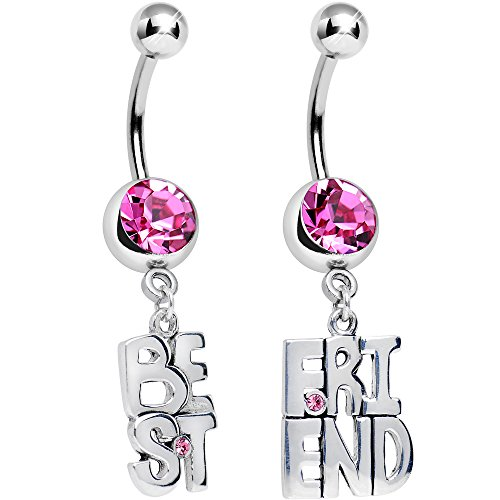 Body Candy Pink Banner of Best Friend Dangle Belly Ring Set