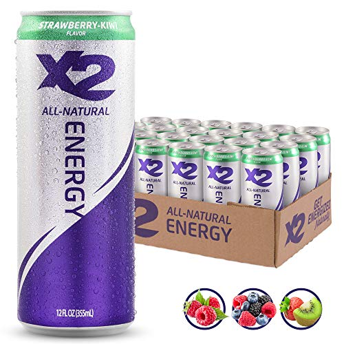 X2 All Natural Healthy Energy Drink: Great Tasting Non-Carbonated Energy Beverage with No Crash or Jitters - Less Sugar, Lower Calories - No Artificial Ingredients - Strawberry Kiwi - Pack - Kiwi Strawberry Green Tea