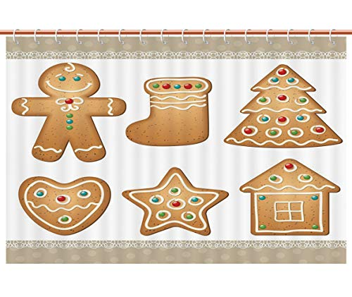 Cool Shower Curtain [ Gingerbread Man,Cute Pastry Design Graphic Cookies in Different Shapes Tasty Sweet Goodies,Multicolor ] Decorative Shower Curtain Ideas -