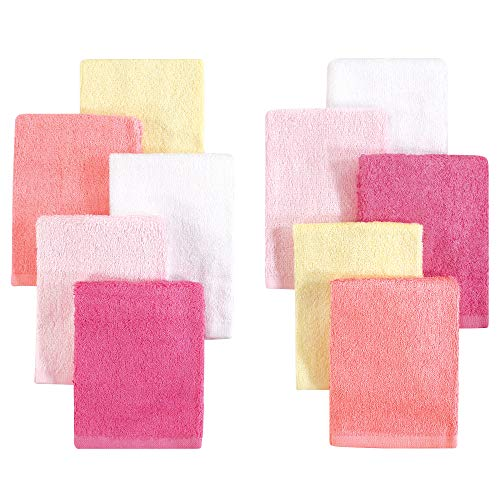 Little Treasure 10 Piece Luxuriously Soft Washcloths, Pink Yellow, One - Cars Baby Washcloths