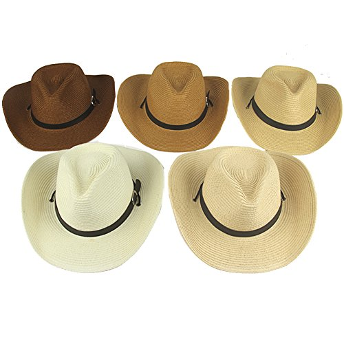 Yosang Adult Straw Cowboy Hat Wide-Brimmed Woven Summer Sun Hat (Tan)