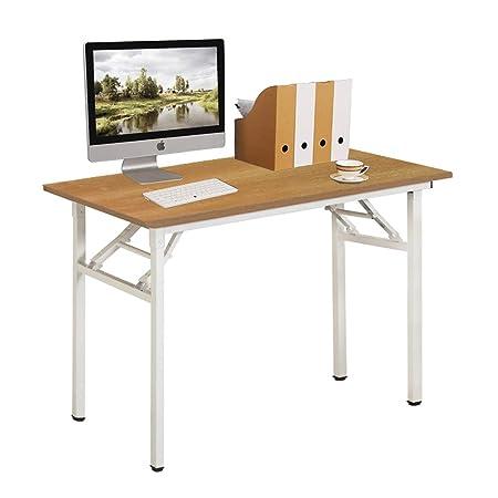 Need tavolo pieghevole 100 x 60 cm scrivania per computer Compact tavolo  piccolo da scrivania, teak bianco AC5BW-100