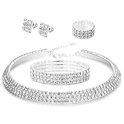 LOYALLOOK Bridal Jewelry Set Crystal Jewelry Set for Women Costume Jewelry for Women Fashion Jewelry Sets