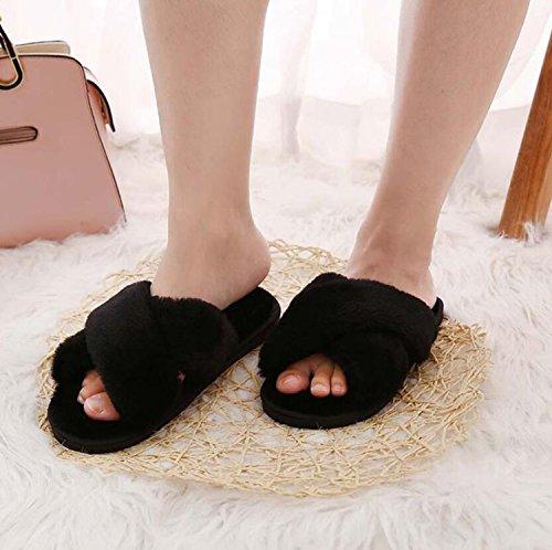 Comfort Flip Rosa Slippers amp; Flat de Mujer Invierno Negro para Negro Toe DANDANJIE Round Heel Casual Zapatos caseros Zapatos Gris de Flops 4qxa8X