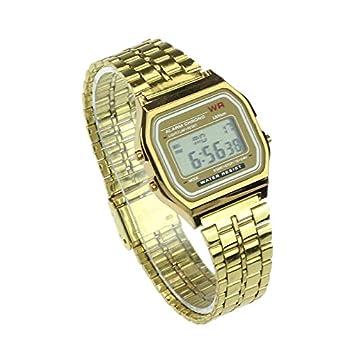 Reloj de Pulsera con Alarma Digital de Acero Inoxidable para Hombre y Mujer, Estilo Vintage Dorado: Amazon.es: Informática