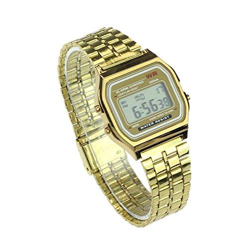 Hot!Elegant Design Vintage Womens Men Stainless Steel Digital Alarm Stopwatch Wrist Watch Silver/Gold (Gold)