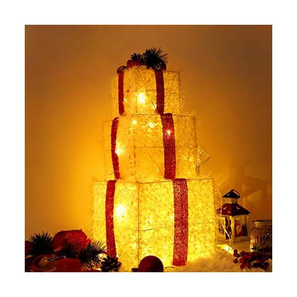 CCLIFE LED accendere Decorativa Natale Pacco Regalo Box Set dimmerabile, 3 Pezzi, Scatola Regalo LED, Illuminazione Decorativa, Colore:C: bianco + rosso, lana 1 spesavip