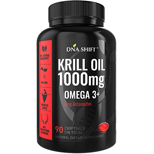 (DNA Shift Krill Oil 1000 mg with Astaxanthin 3mg - Pure omega 3 krill oil - Antarctic krill oil capsules 1000mg - Super krill oil supplement best for Men and Women - 90 liquid krill oil softgels)
