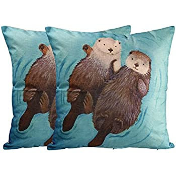 Funny Lovely Animals Abstract Adorable Hedgehog Otter Polyester Throw Pillow Case Home Office Decorative Pillow Case 2 Pack