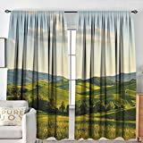 Customized Curtains Country,Tuscany Hills Italy Meadow Greenery Pastoral Rural Scenery Farmland Scenic,Green Pale Blue,for Room Darkening Panels for Living Room, Bedroom 72'x96'