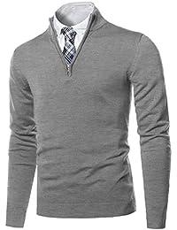 Men's Classic Zip Up Mock Neck Basic Sweater Top