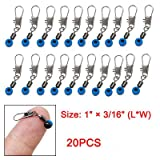Blue Fishing Line to Hook Swivels Shank Clip Connector 20pcs, Outdoor Stuffs