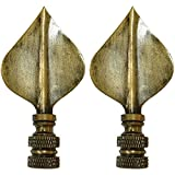 Royal Designs Spade Leaf Lamp Finial for Lamp Shade- Antique Brass Set of 2