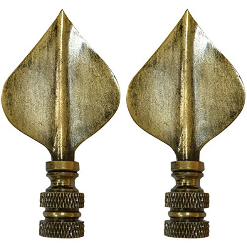 Leaf Lamp Finial - Royal Designs Spade Leaf Lamp Finial for Lamp Shade- Antique Brass Set of 2