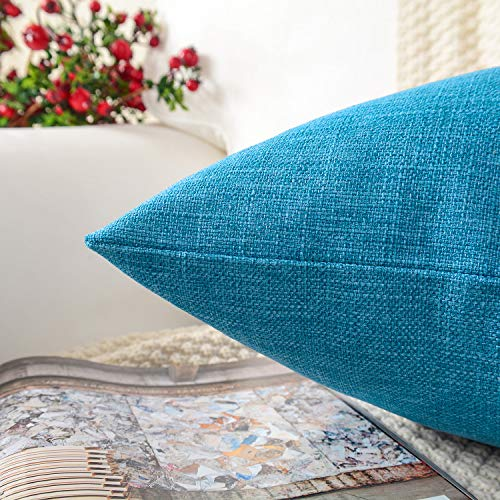MERNETTE Pack of 2, Cotton Linen Blend Decorative Rectangle Throw Pillow Cover Cushion Covers Pillowcase, Home Decor Decorations for Sofa Couch Bed Chair 12x20 Inch/30x50 cm (Vivid Blue)