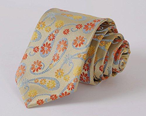 Yellow Blue Paisley Floral Silk Jacquard Skinny Narrow Slim Man Tie Necktie