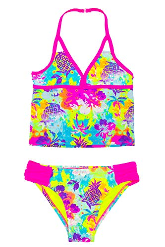 - LAGUNA Girls Tropical Tie Dye Floral Tankini Two-Piece Bathing Suit, UPF 50+, Pink/Multicolor, 10/12