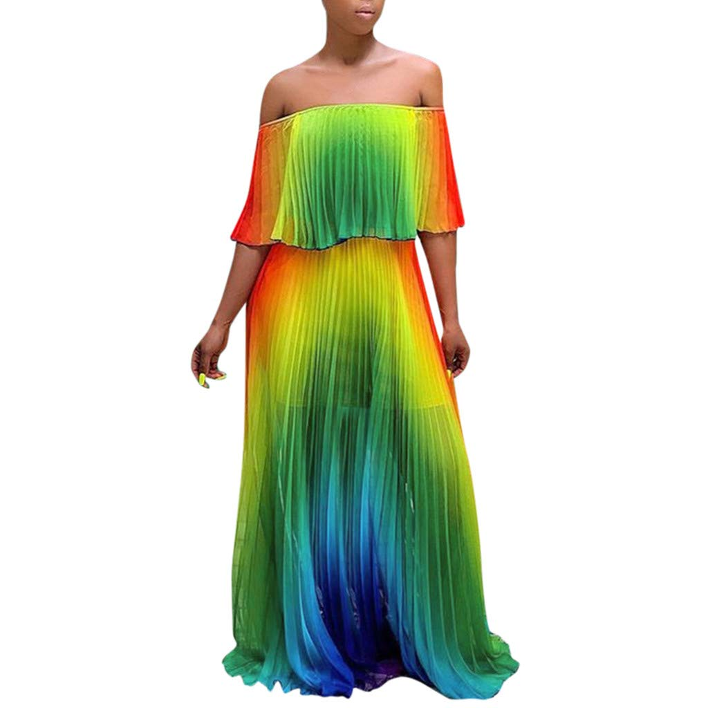 Allywit Women Boho Gradient Ruffle Chiffon Cold Off Shoulder Maxi Pleated Dress Long Dresses Green