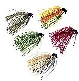 5 Pcs 7g/10g (1/4oz)/(3/8oz) Mixed Colour Fly Rubber Swim Bass Jig Fishing Lures (5pcs 10g (3/8oz))