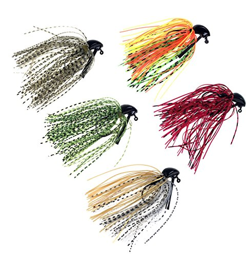 Bass Fishing Jigs - thkfish Bass Fishing Jigs, 5pcs 7g(1/4oz) Mix Color Metal Lead Rubber Swim Fishing Jigs Lures
