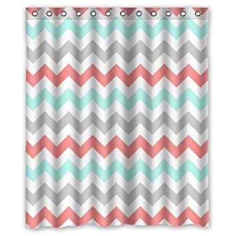Amazon Com Coral Light Green Gray And White Chevron Zig Zag Pattern Waterproof Bathroom Fabric Shower Curtain Bathroom Decor 60 X 72 Clothing
