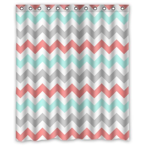 Curtains Ideas coral chevron shower curtain : Amazon.com: Coral,Light Green,Gray and White Chevron Zig Zag ...