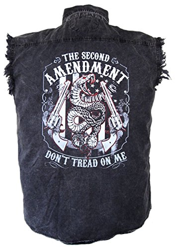 Leather Supreme Men's Second Amendment Snake Denim Cutoff Biker Shirt-Charcoal-4Xl ()