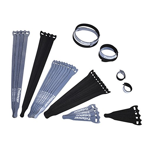 (Reusable Cable Ties, Trilancer Cord Wraps, Adjustable Strap Fastener, Cable Organizer, Fastening Hook and Loop (3 Sizes/Black/40PCS))