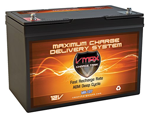 (VMAX MR127 12 Volt 100Ah AGM Deep Cycle Maintenance Free Battery for boats and 40-100lb minn kota, minnkota, cobra, sevylor and other trolling motor (12V 100AH, GROUP 27 Marine Deep Cycle AGM Battery) )