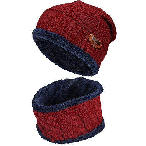Fantastic Zone 2-Pieces Winter Beanie Hat Scarf Set Warm Knit Hat Thick Fleece Lined Winter Hat & Scarf For Men Women (Wear Thermal Ski)