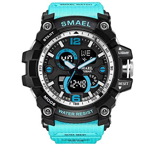 IAMUP SMAEL Sport Watch Men Digital LED Electronic Watches Rubber Quartz Fashion Wristwatches Sky Blue ()