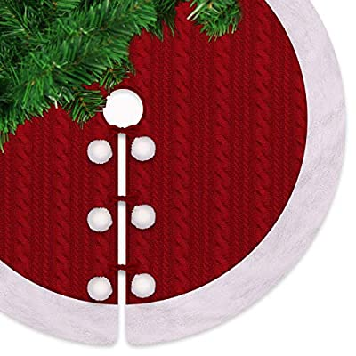 "LimBridge 48"" Luxury Knitted Christmas Tree Skirt Thick Heavy Yarn Wine Red Rustic Xmas Holiday Decoration"