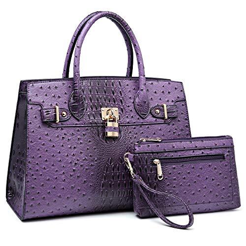 Women Handbags and Purses Ladies Shoulder Bag Ostrich Top Handle Satchel Tote Work Bag with Wallet (Purple) ()