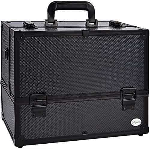 Makeup Train Case Professional Adjustable - 6 Trays Cosmetic Cases Makeup  Storage Organizer Box with Lock c3ddb7bd4687b