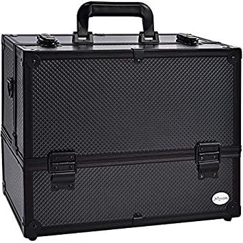 Amazon.com : Makeup Train Case Professional Adjustable - 6 Trays Cosmetic Cases Makeup Storage Organizer Box with Lock and Compartments 14 Inch Large Black ...