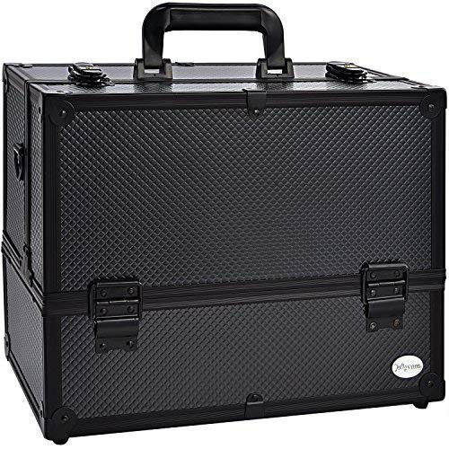 Makeup Train Case Professional Adjustable – 6 Trays Cosmetic Cases Makeup Storage Organizer Box with Lock and Compartments 14 Inch Large Black