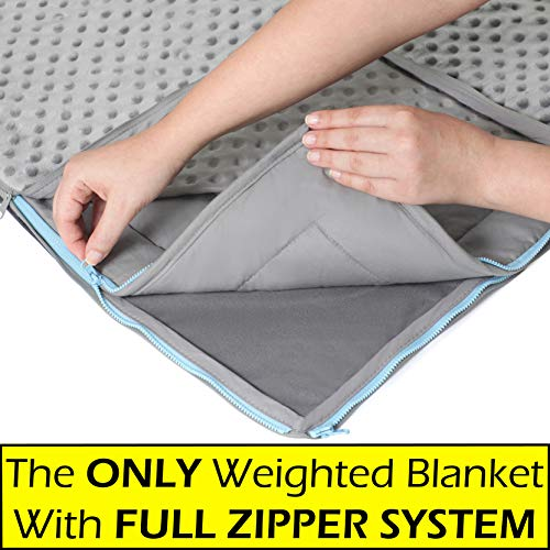 10lb Weighted Blanket + FREE Removable Minky Cover + FULL ZIPPER SYSTEM, Cozy & Cool Weighted Blanket For Adults & Kids, Our Heavy Twin Blanket Made Of 100% Cotton + Glass Beads, Large 40x75 Blanket