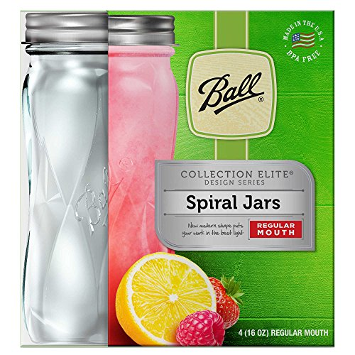 Set Of 4 (16 Oz.) Ball Regular Mouth Spiral Glass Jars Perfect For Favorite Beverage Or Preserving Sauces, BPA-Free, Dishwasher Safe, Made in USA