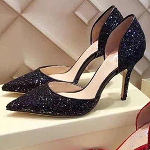 Azbro Mujer Zapato de Tacón Bomba Alto Slip-on con Lentejuelas Negro