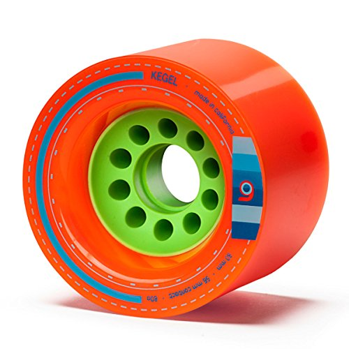 Orangatang Kegel 80 mm 80a Downhill Longboard Skateboard Cruising Wheels w/Loaded Jehu V2 Bearings (Orange, Set of 4)