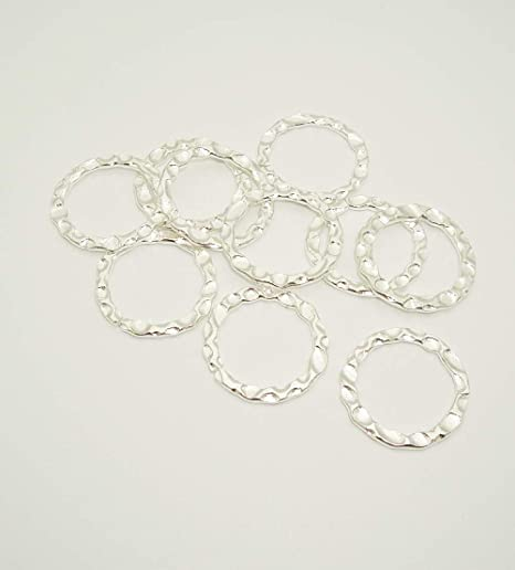 Wiggly Rings Sterling Silver Hammered Links Connectors 12mm