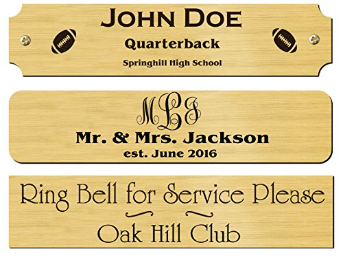 """1"""" H x 4.5"""" W, Solid Brass Satin Finish Name Plate, Personalized Custom Laser Engraved Name Tag Label Art for Frames Notched Square or Round Corners Made in USA"""