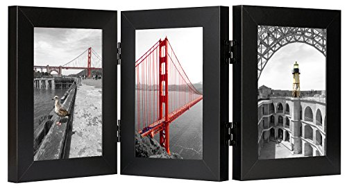 Golden State Art, Triple Hinged Table Desk Top Picture Photo Frame for 4x6 Photo, 3 Vertical Openings, with Real Glass (Black, 4x6 Triple Hinged - Picture Foldable Frame