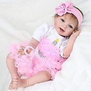 22' Newborn Reborn Baby Dolls Handmade Lifelike Soft Silicone Vinyl Realistic Doll Looking Real Toddlers Toys Xmas Birthday Gift